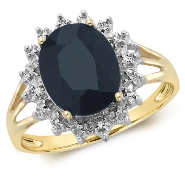 9ct Large Oval Sapphire & Diamond Ring