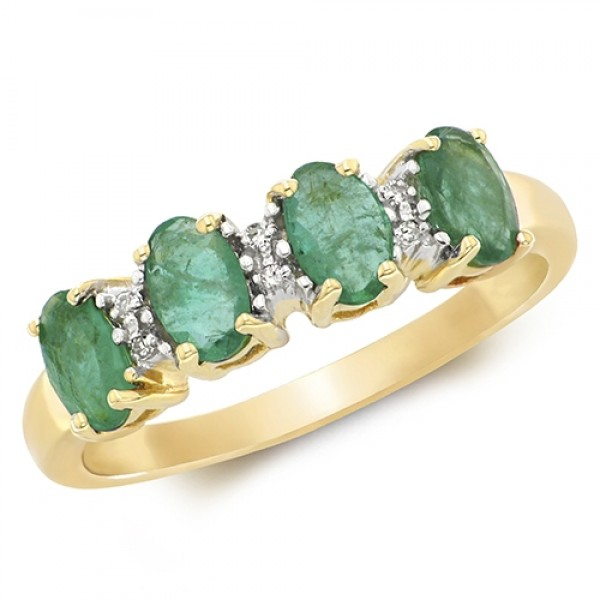 9ct Oval  Emerald & Diamond Ring