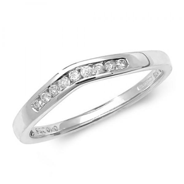 9ct White Gold Diamond Soft Wishbone Ring