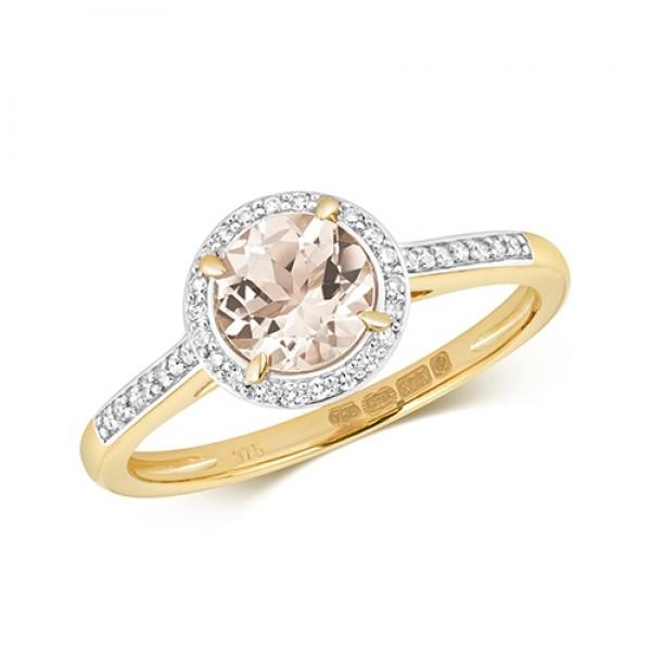 9ct Morganite & Diamond Ring