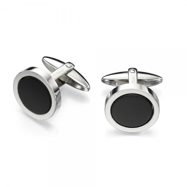 Fred Bennett Men's Stainless Steel Black Onyx Cufflinks