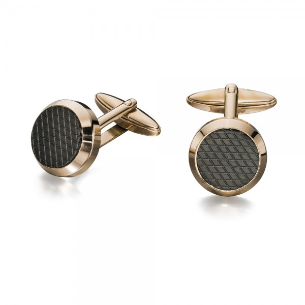 Fred Bennett Men's Rose Plated Black Textured Cufflinks