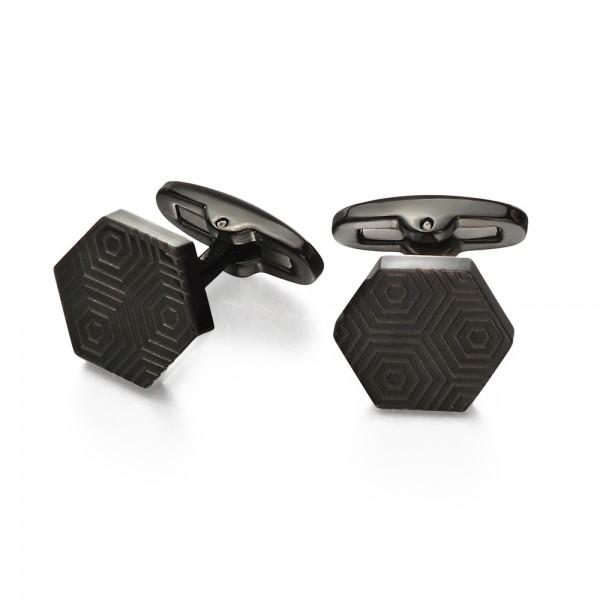 Fred Bennett Men's Stainless Steel Black IP Plated Etched Hexagonal Cufflinks