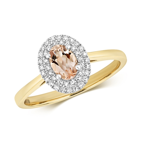 9ct Diamond & Morganite Ring