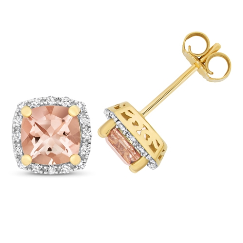 9ct Diamond & Morganite Earrings